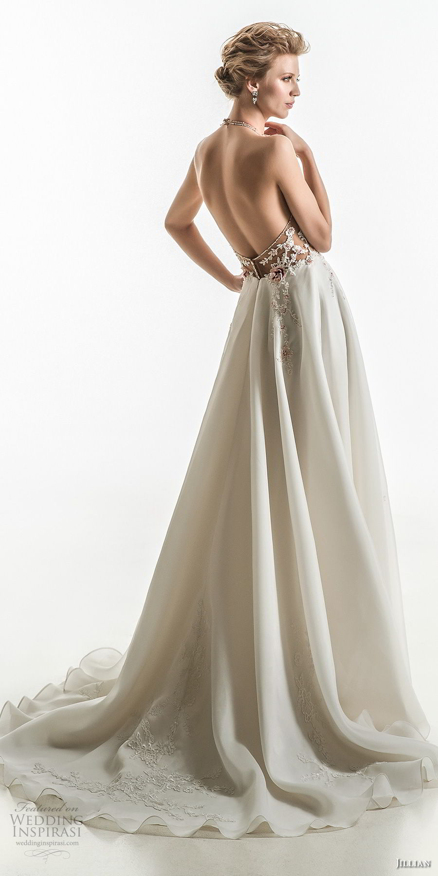 jillian 2018 bridal sleeveless halter neck heavily embellished bodice flowy skirt romantic a  line wedding dress open back chapel train (16) bv