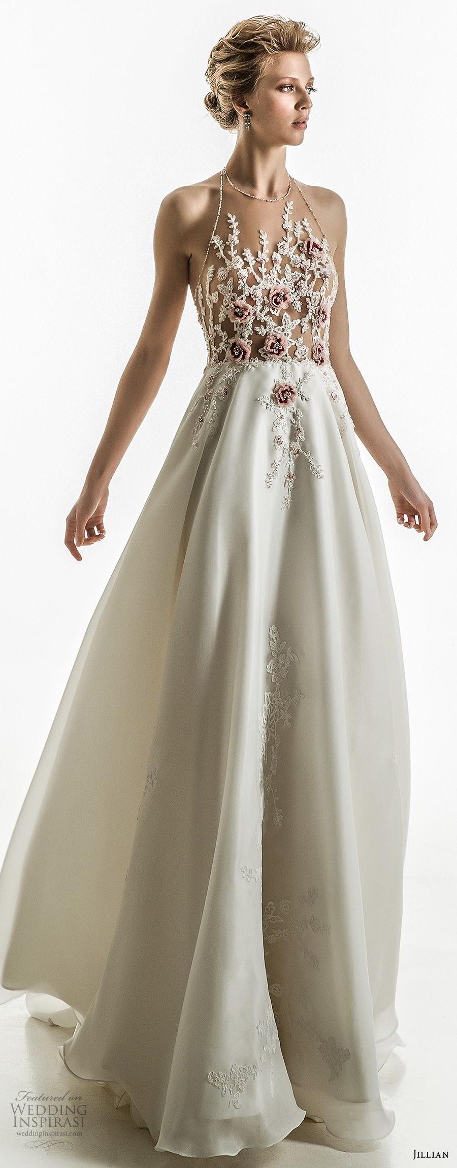 jillian 2018 bridal sleeveless halter neck heavily embellished bodice flowy skirt romantic a  line wedding dress open back chapel train (16) mv