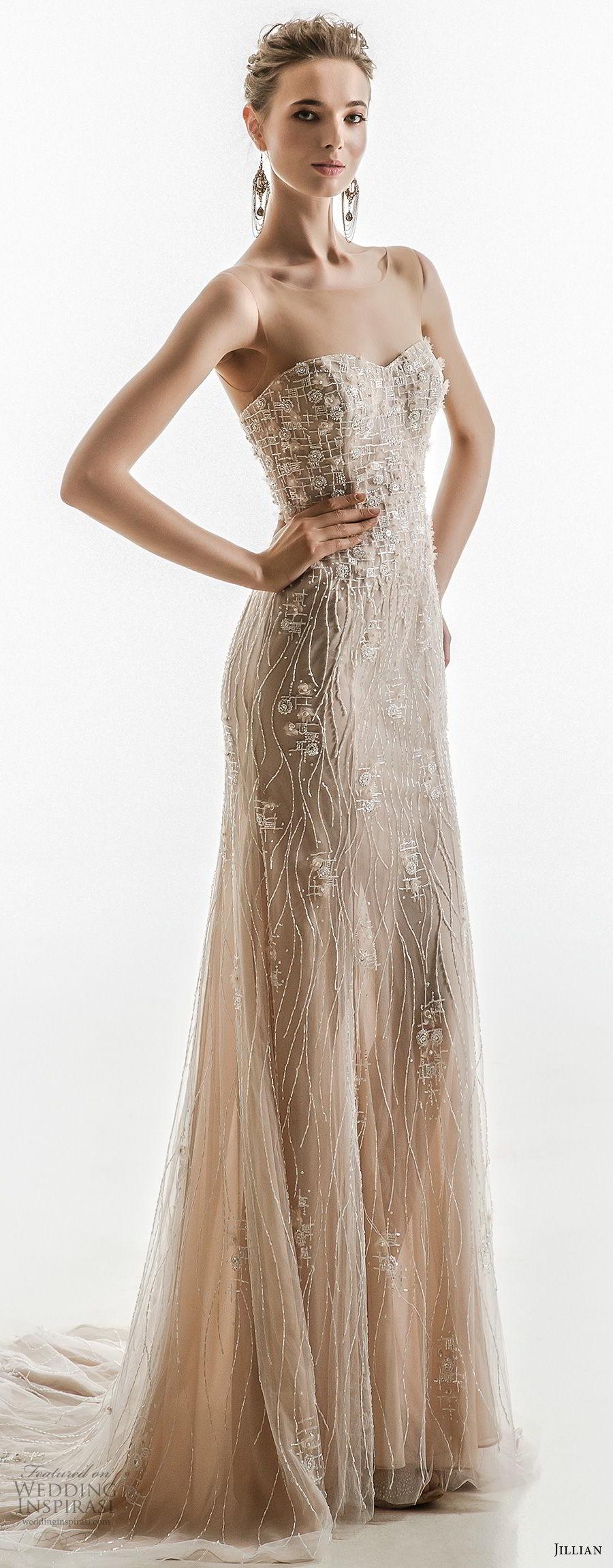 jillian 2018 bridal sleeveless illusion bateau sweetheart neckline full embellishment champagne color elegant sheath wedding dress sweep train (27) mv