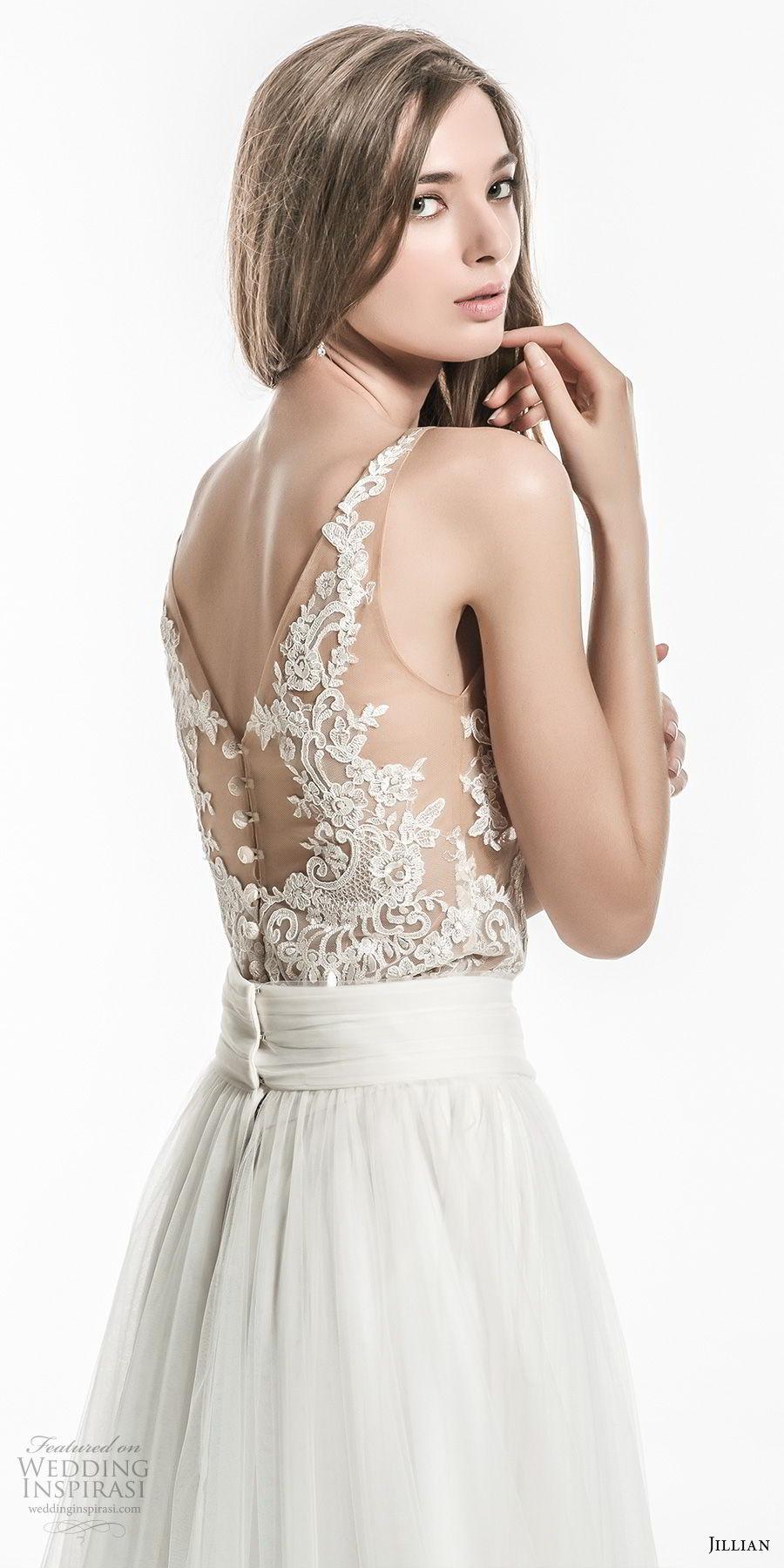 jillian 2018 bridal sleeveless illusion jewel neckline heavily embellished lace bodice flowy skirt elegant a  line wedding dress v lace back sweep train (26) zbv