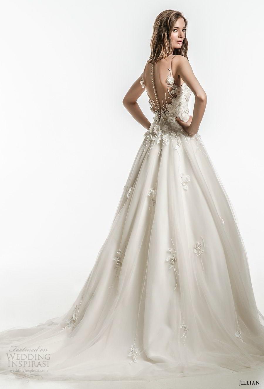 jillian 2018 bridal sleeveless illusion jewel sweetheart neckline heavily embellished bodice romantic a  line wedding dress sheer button back chapel train (11) bv