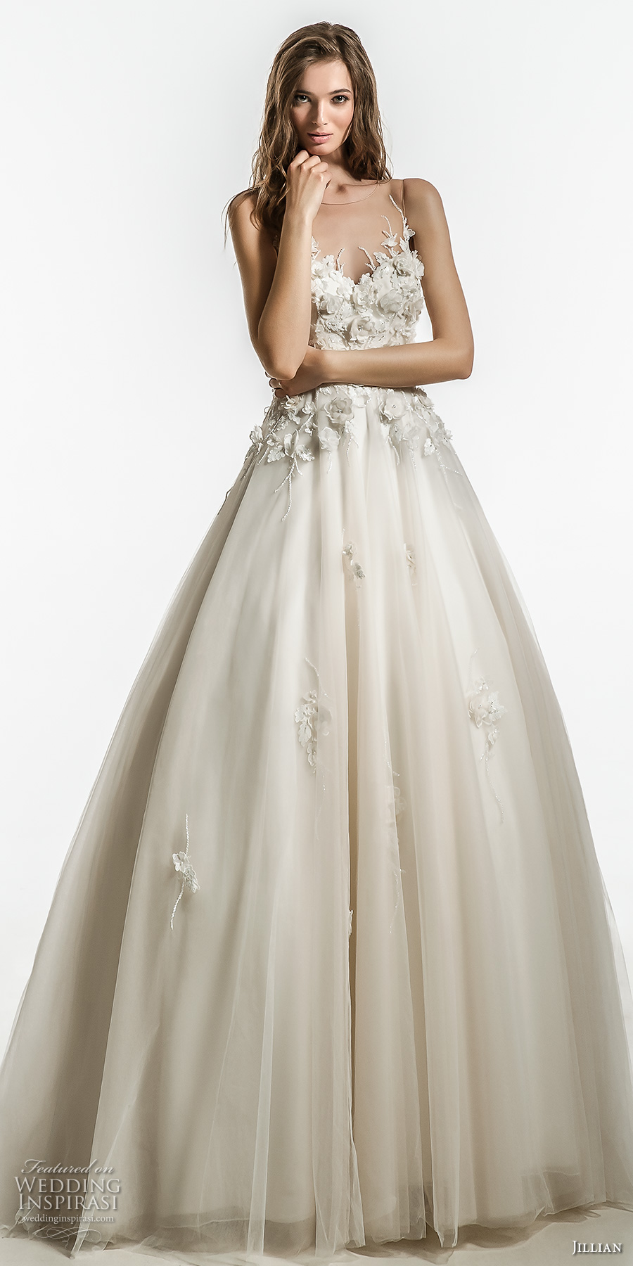 jillian 2018 bridal sleeveless illusion jewel sweetheart neckline heavily embellished bodice romantic a  line wedding dress sheer button back chapel train (11) mv