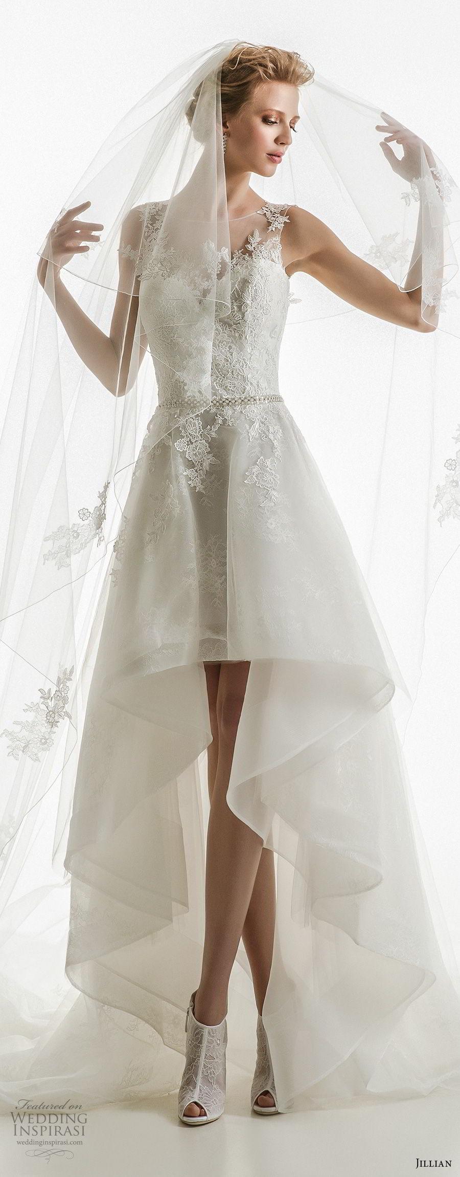 jillian 2018 bridal sleeveless illusion jewel sweetheart neckline heavily embellished bodice romantic high low wedding dress chapel train (31) mv