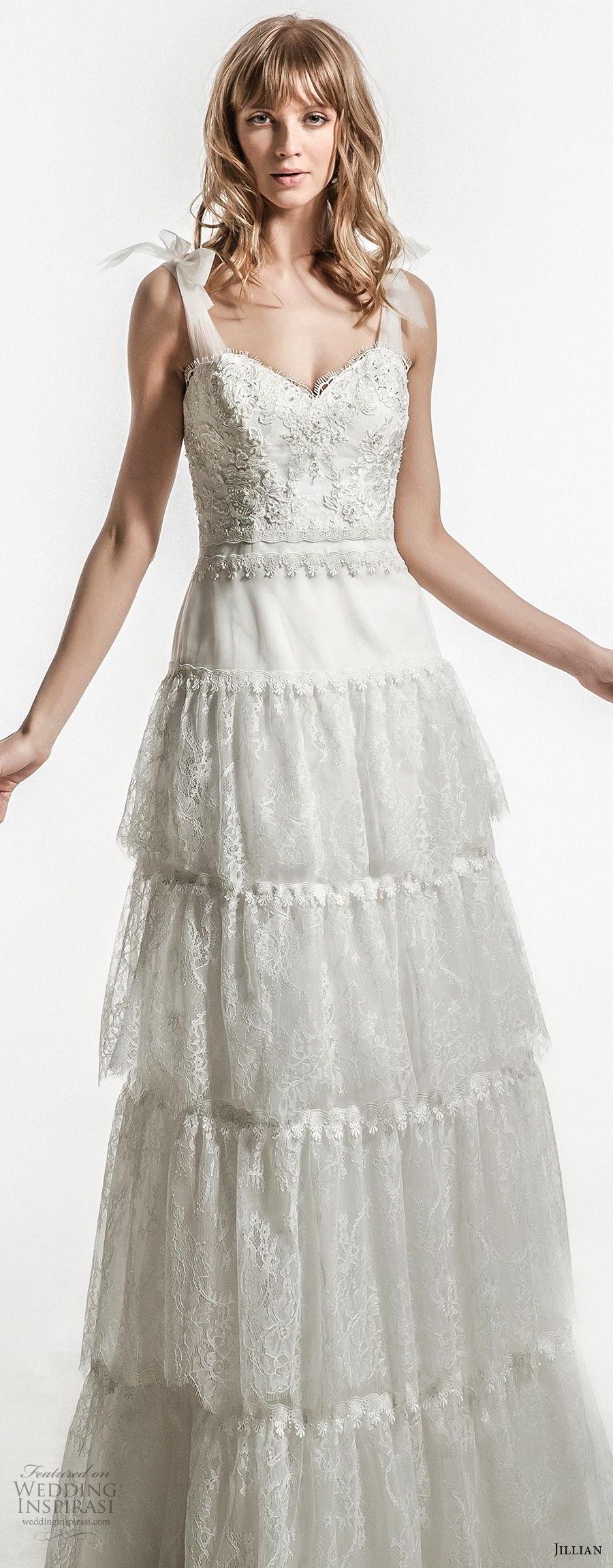jillian 2018 bridal sleeveless thick strap sweetheart neckline heavily embellished bodice bohemian modified a  line wedding dress open v back sweep train (24) mv