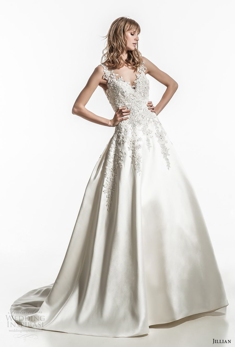 jillian 2018 bridal sleeveless thick strap sweetheart neckline heavily embellished bodice sating skirt romantic a  line wedding dress sheer button back chapel train (29) mv