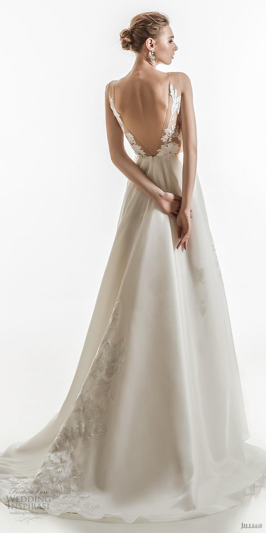 jillian 2018 bridal sleeveless v neck heavily embellished bodice elegant a  line wedding dress open v back medium train (14) bv