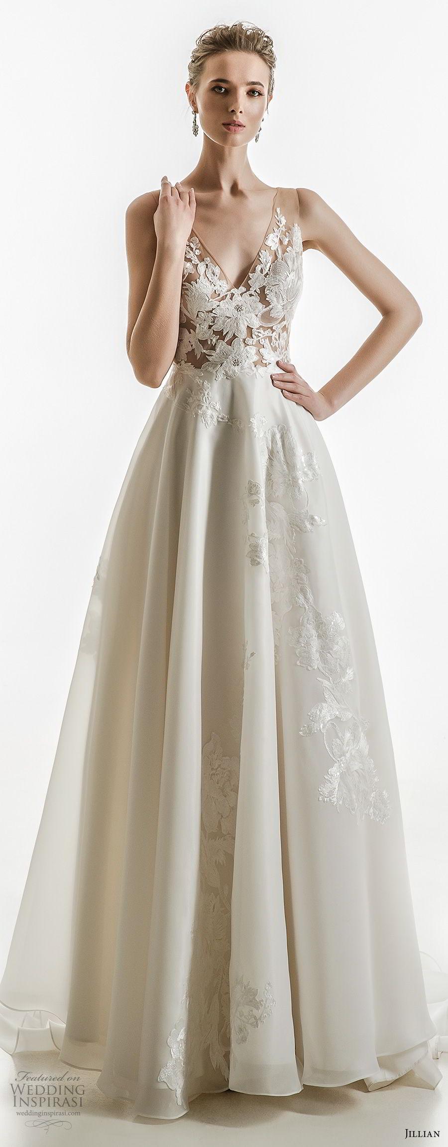 jillian 2018 bridal sleeveless v neck heavily embellished bodice elegant a  line wedding dress open v back medium train (14) mv