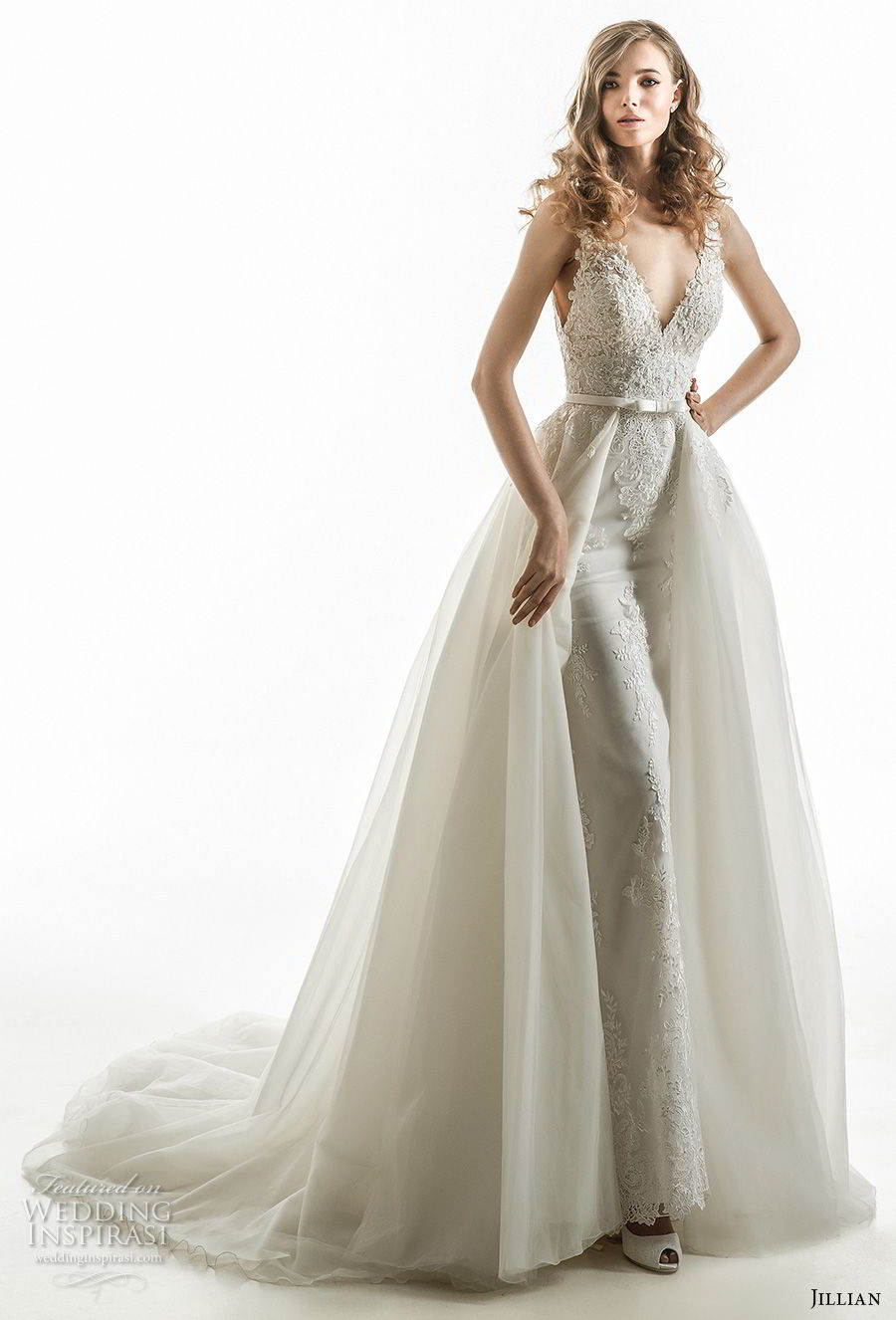 jillian 2018 bridal sleeveless v neck heavily embellished bodice elegant romantic sheath wedding dress a  line overskirt chapel train (04) mv