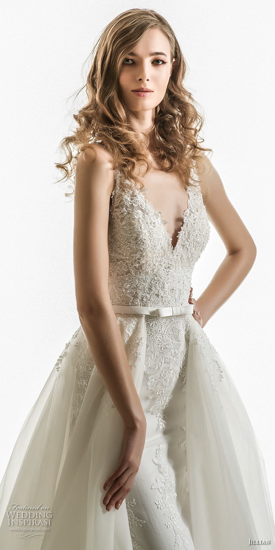 jillian 2018 bridal sleeveless v neck heavily embellished bodice elegant romantic sheath wedding dress a  line overskirt chapel train (04) zv