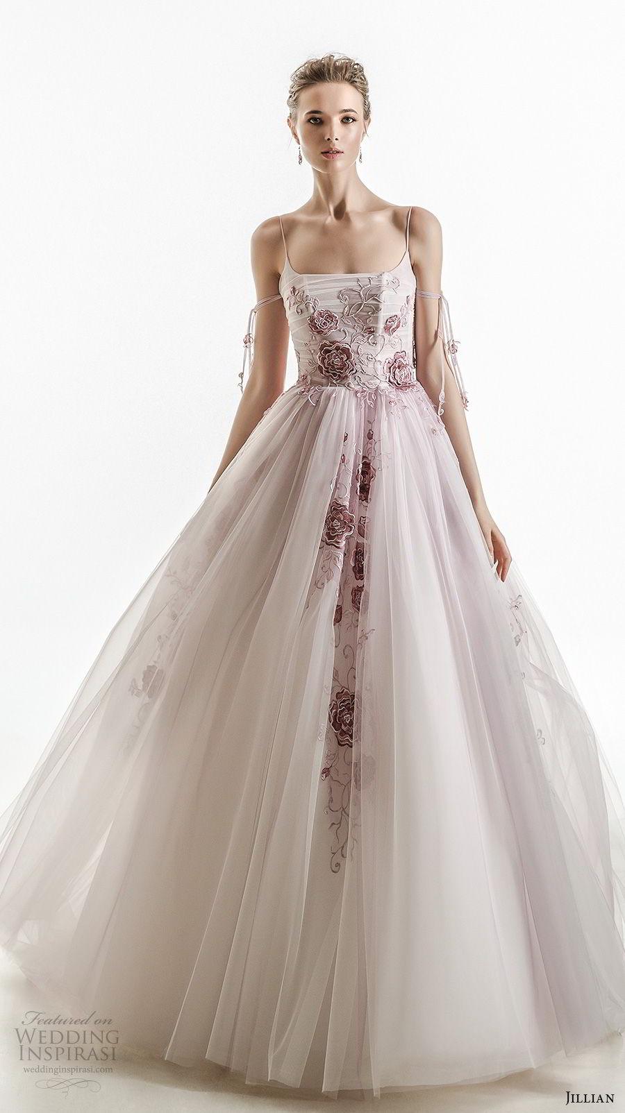 jillian 2018 bridal spagetti strap straight across neckline heavily embellished bodice tulle skirt romantic purple color wedding dress (30) mv