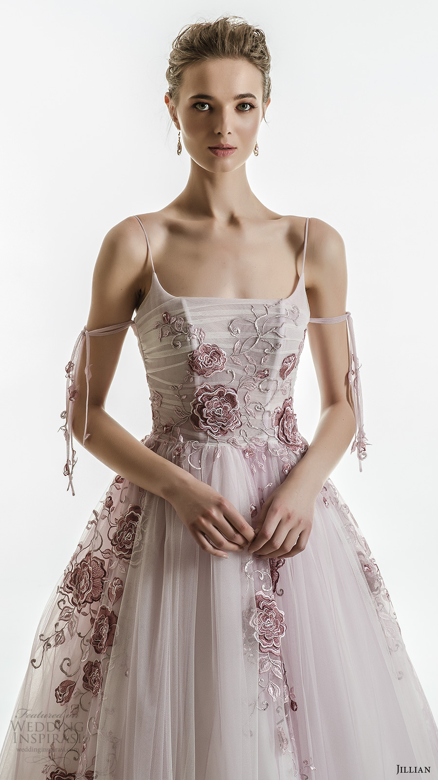 jillian 2018 bridal spagetti strap straight across neckline heavily embellished bodice tulle skirt romantic purple color wedding dress (30) zv