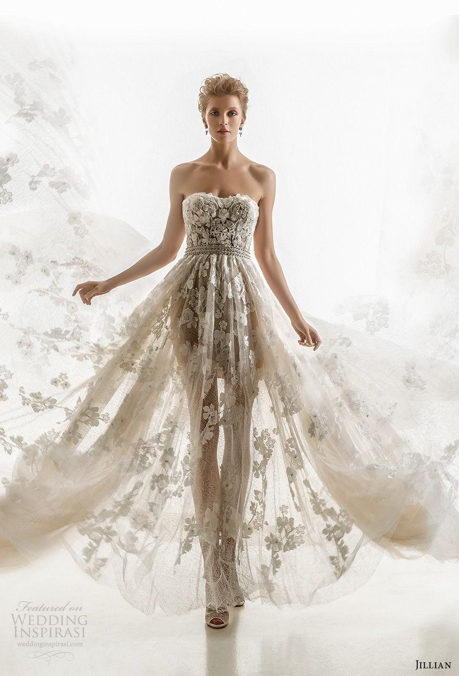 jillian 2018 bridal strapless semi sweetheart neckline full embellishment sheer flowy skirt romantic a  line wedding dress chapel train (08) mv