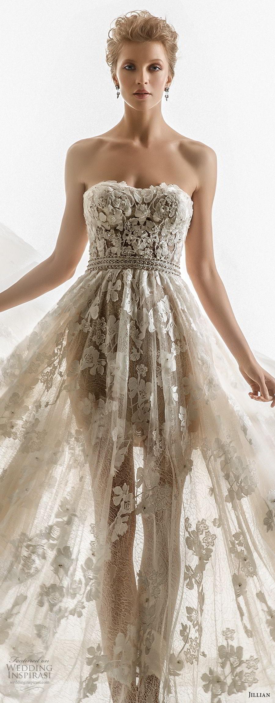 jillian 2018 bridal strapless semi sweetheart neckline full embellishment sheer flowy skirt romantic a  line wedding dress chapel train (08) zv