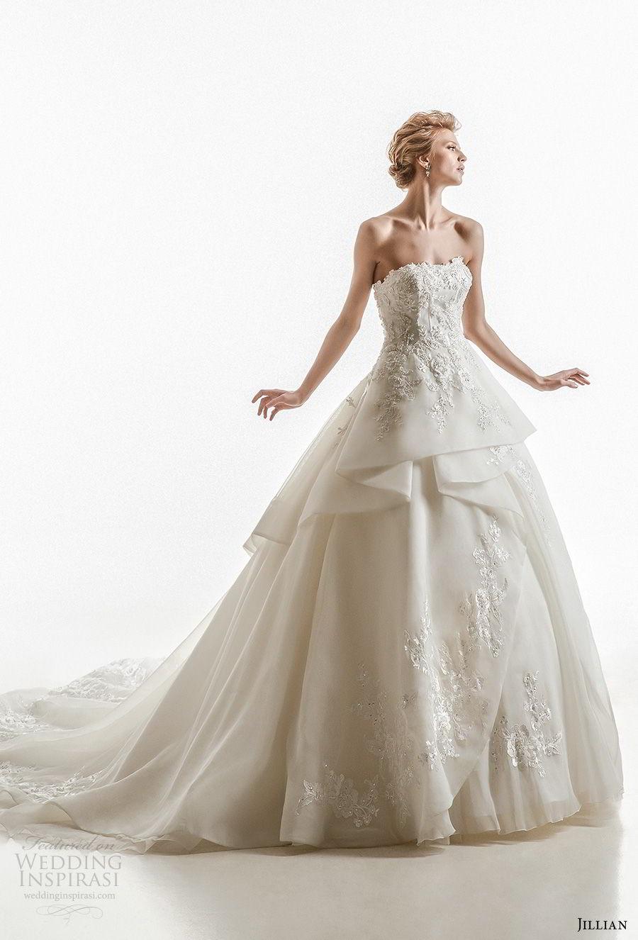 jillian 2018 bridal strapless straight across neckline heavily embellished bodice peplum princess ball gown wedding dress royal train (18) mv
