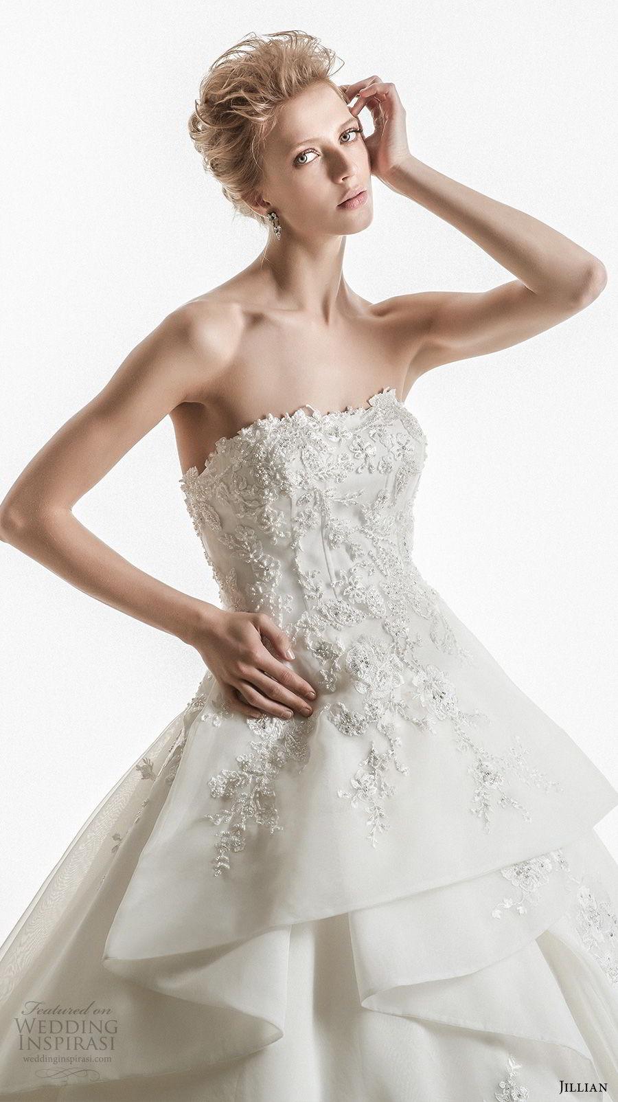 jillian 2018 bridal strapless straight across neckline heavily embellished bodice peplum princess ball gown wedding dress royal train (18) zv