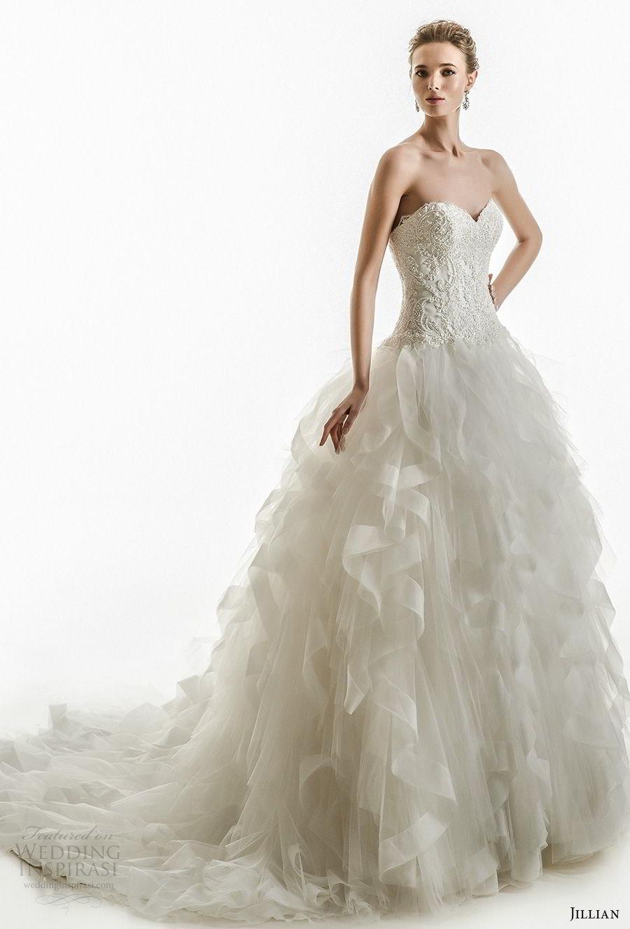 jillian 2018 bridal strapless sweetheart neckline heavily embellished bodice princess ball gown ruffled skirt wedding dress chapel train (13) mv