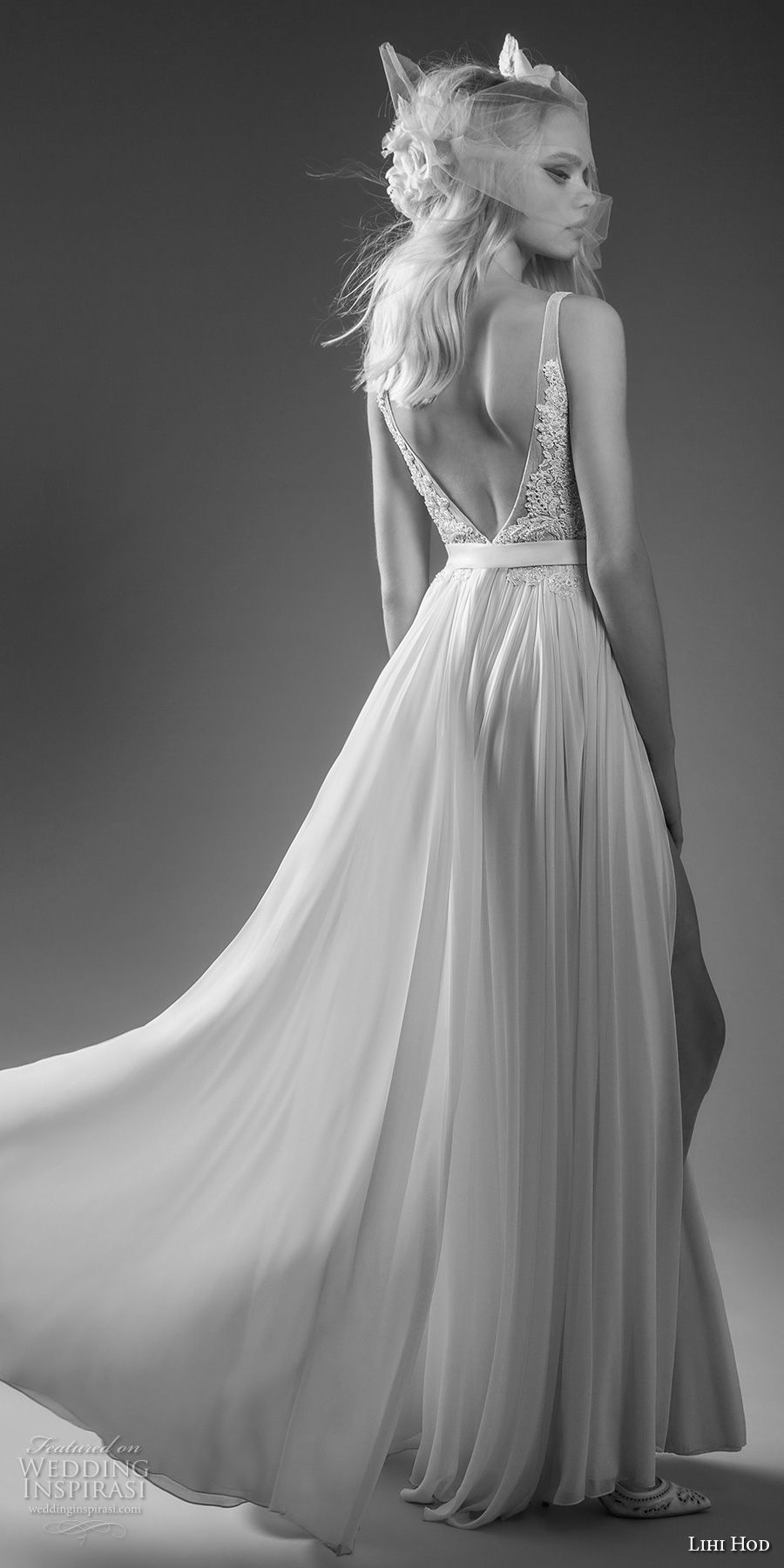 lihi hod bridal 2017 sleeveless bateau neckline heavily embellished bodice tulle middle split skirt a  line wedding dress open v back sweep train (mary jane) bv