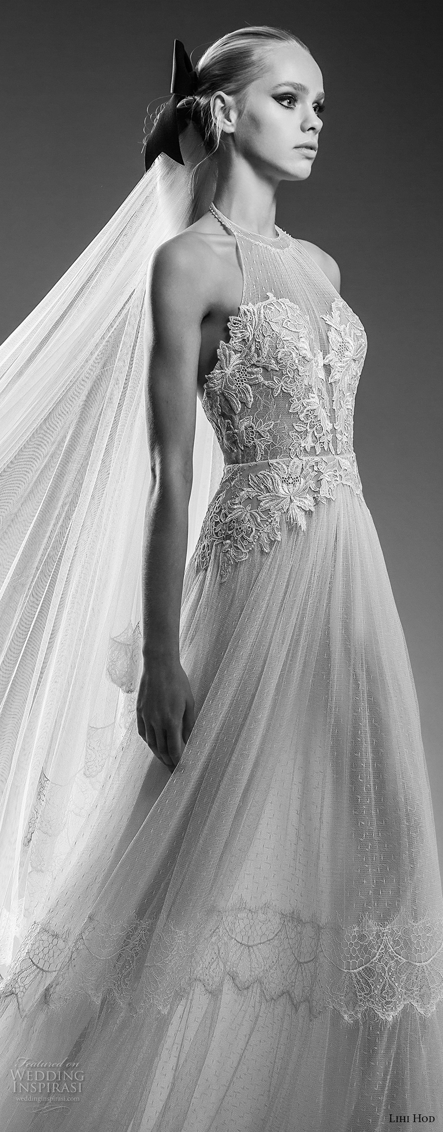 lihi hod bridal 2017 sleeveless halter neck heavily embellised bodice tulle skirt romantic a  line wedding dress open back sweep train (capri) zv