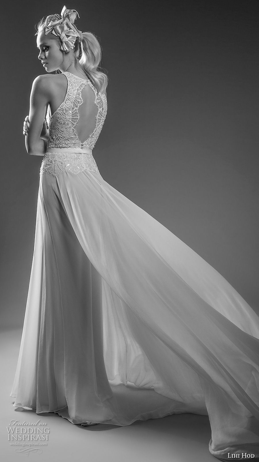 lihi hod bridal 2017 sleeveless halter neck heavily embellished bodice tulle flowy skirt elegant romantic a  line wedding dress keyhole back chapel train (julie) bv