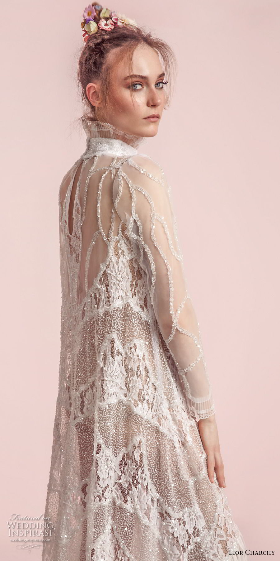 lior charchy spring 2017 bridal long sleeves high neck full embellishment bohemian retro column wedding dress covered back sweep train (1) zbv