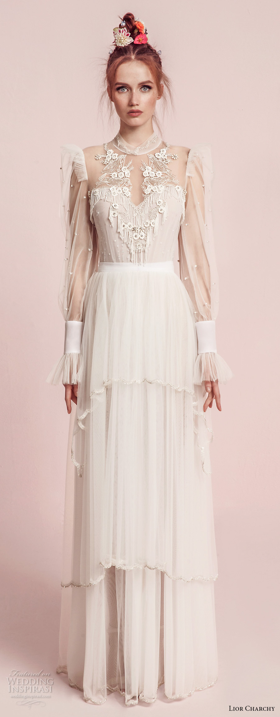 lior charchy spring 2017 bridal long sleeves illusion high neck sweetheart neck heavily embellished bodice layered skirt retro bohemian a  line wedding dress (2) mv