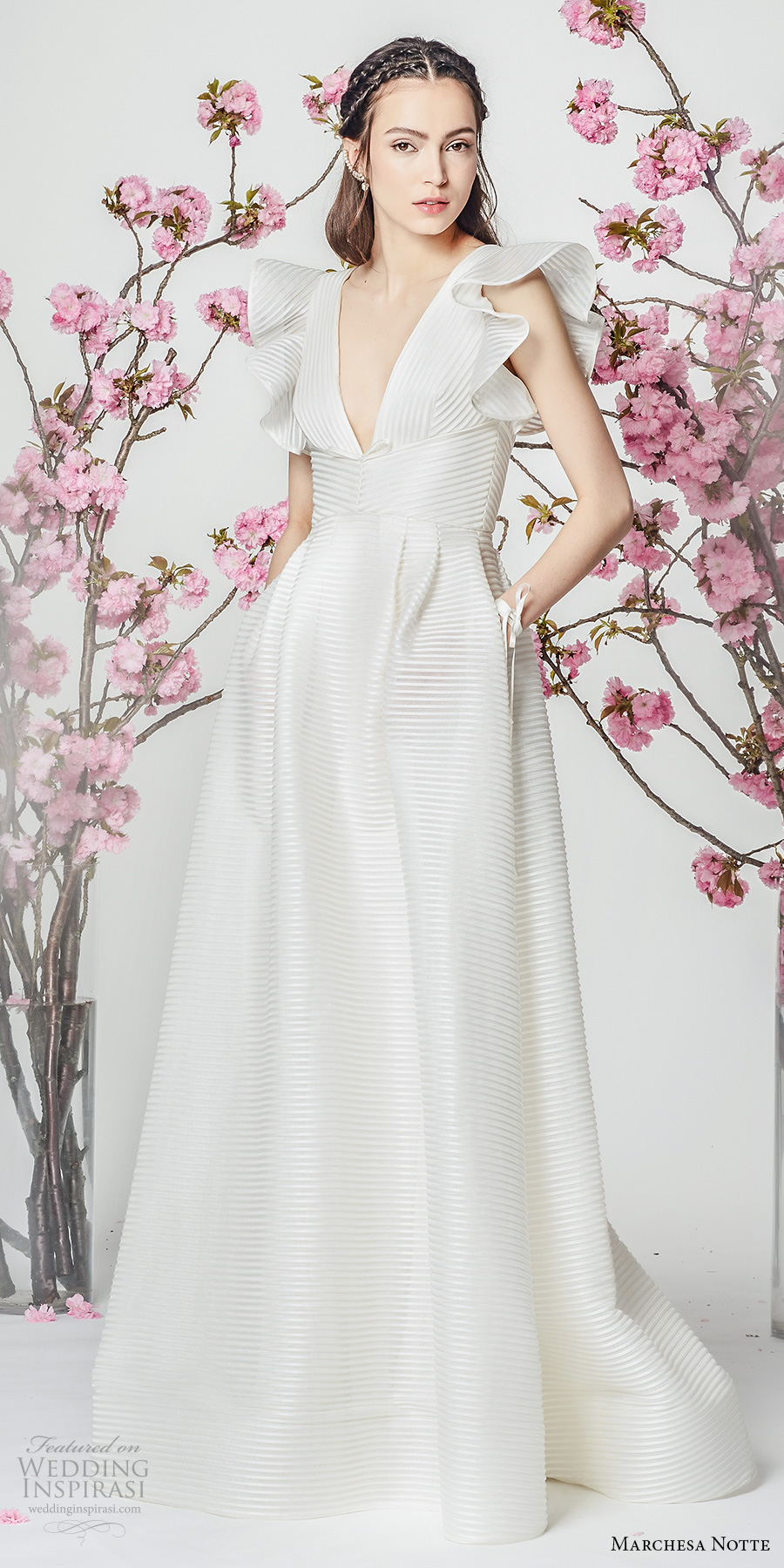 marchesa notte spring 2018 bridal butterfly sleeves deep v neckline simple elegant a  line wedding dress with pockets sweep train (4) mv