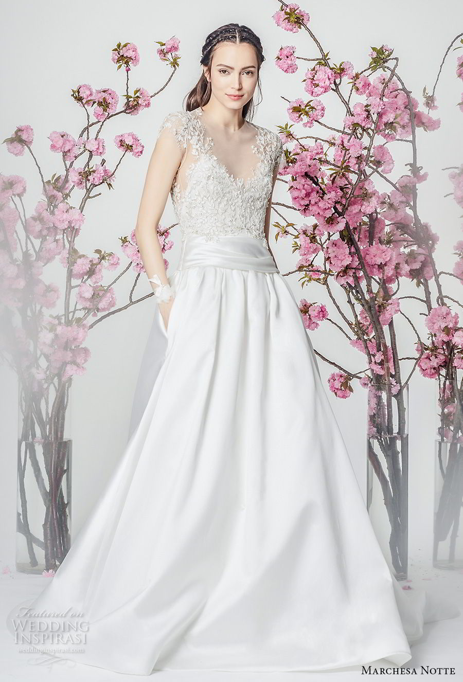 marchesa notte spring 2018 bridal cap sleeves sccop neckline heavily embellished bodice satin skirt romantic a  line wedding dress with pockets chapel train (14) mv