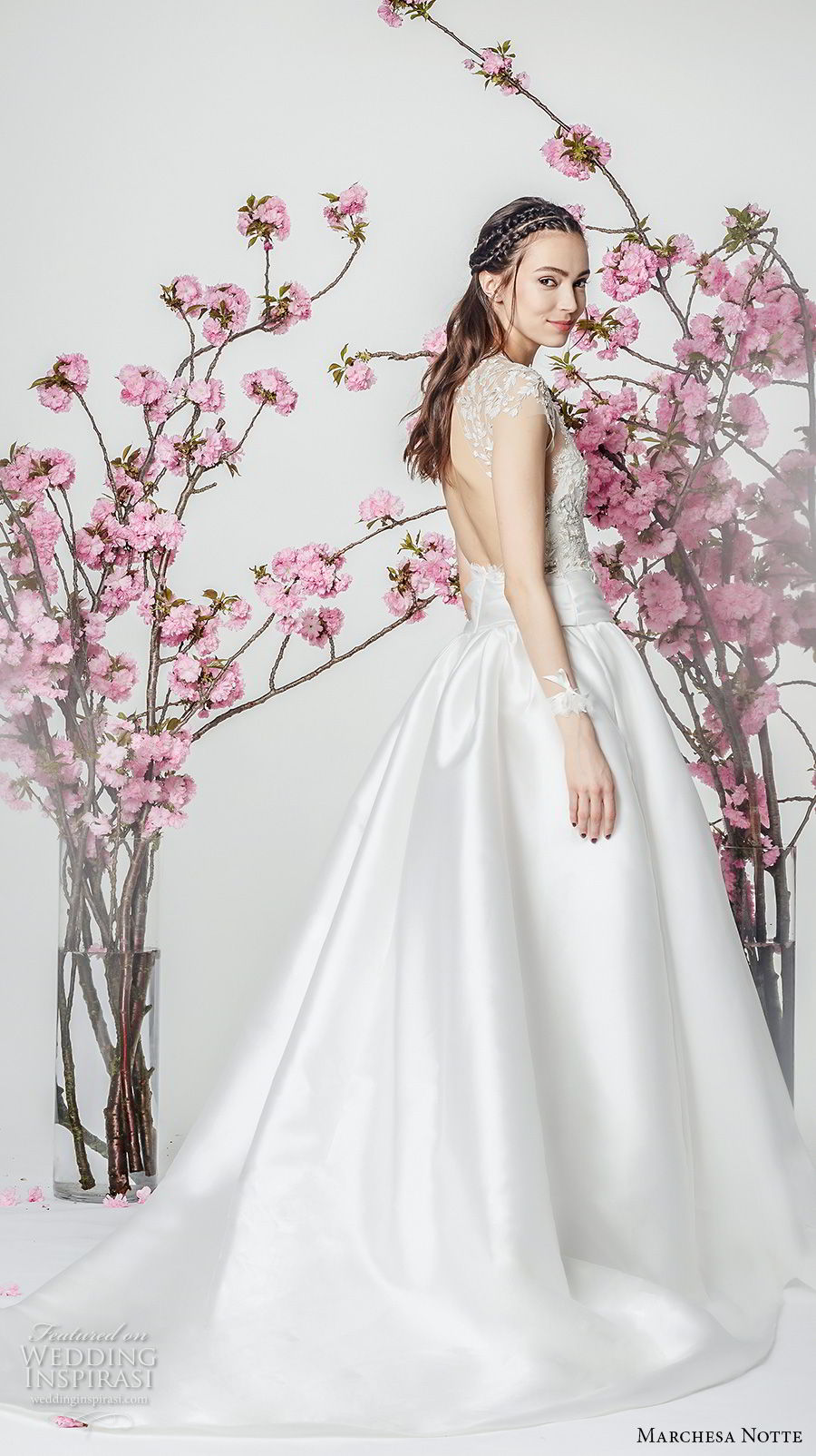 marchesa notte spring 2018 bridal cap sleeves sccop neckline heavily embellished bodice satin skirt romantic a  line wedding dress with pockets chapel train (14) sdv
