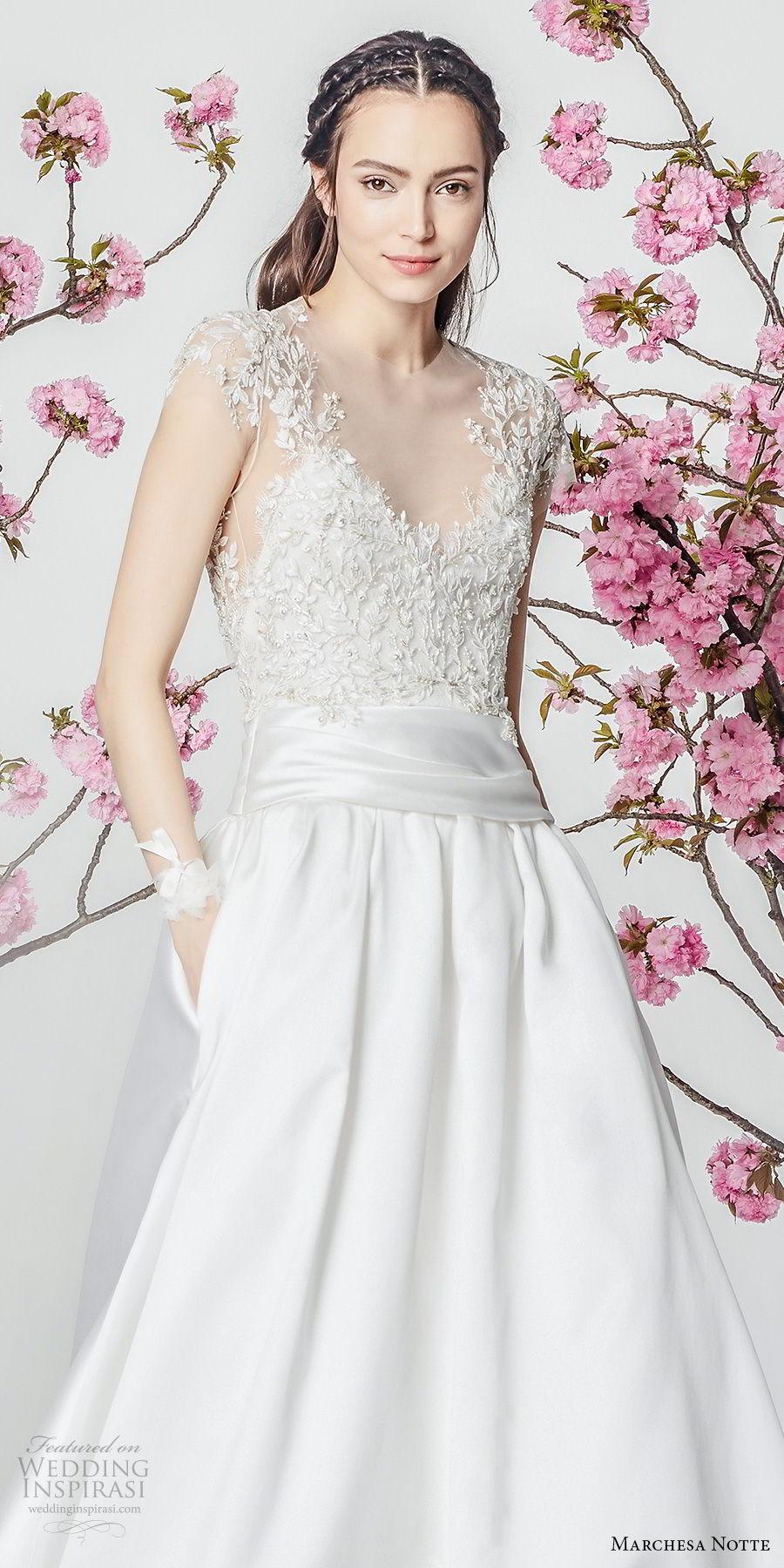 marchesa notte spring 2018 bridal cap sleeves sccop neckline heavily embellished bodice satin skirt romantic a  line wedding dress with pockets chapel train (14) zv
