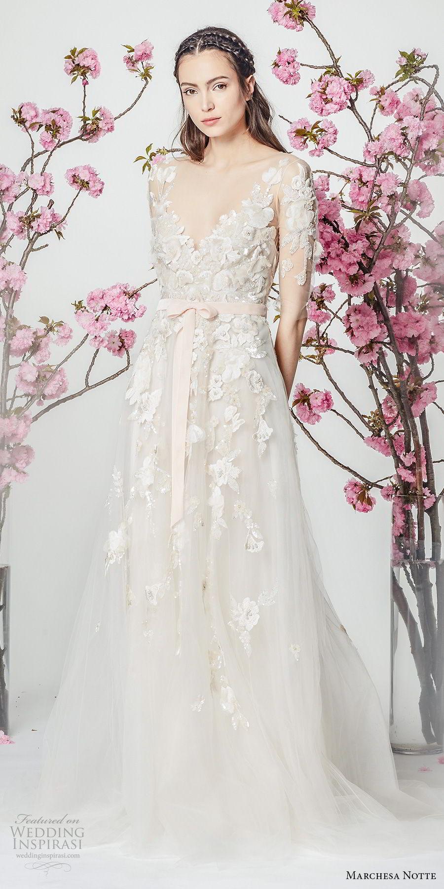 marchesa notte spring 2018 bridal half sleeves v neck heavily embellished bodice tulle skirt romantic modified a  line wedding dress short train (1) mv