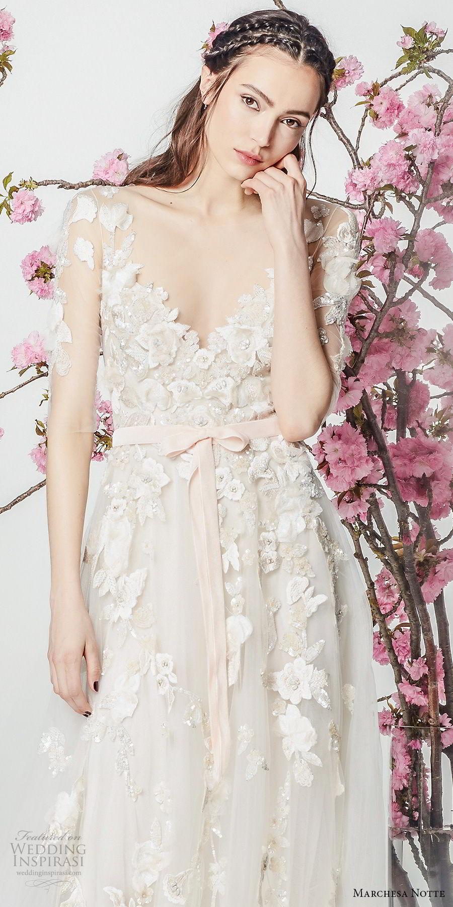 marchesa notte spring 2018 bridal half sleeves v neck heavily embellished bodice tulle skirt romantic modified a  line wedding dress short train (1) zv