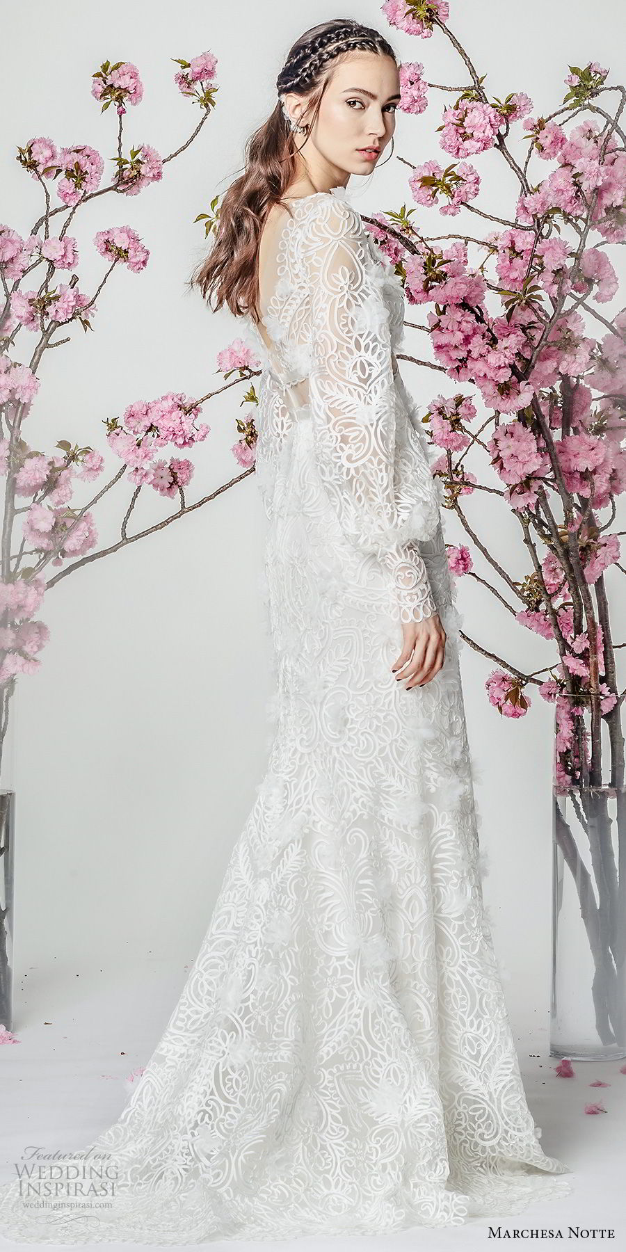 marchesa notte spring 2018 bridal long bishop sleeves deep v neckline full embellishment elegant fit and flare wedding dress sweep train (10) sdv
