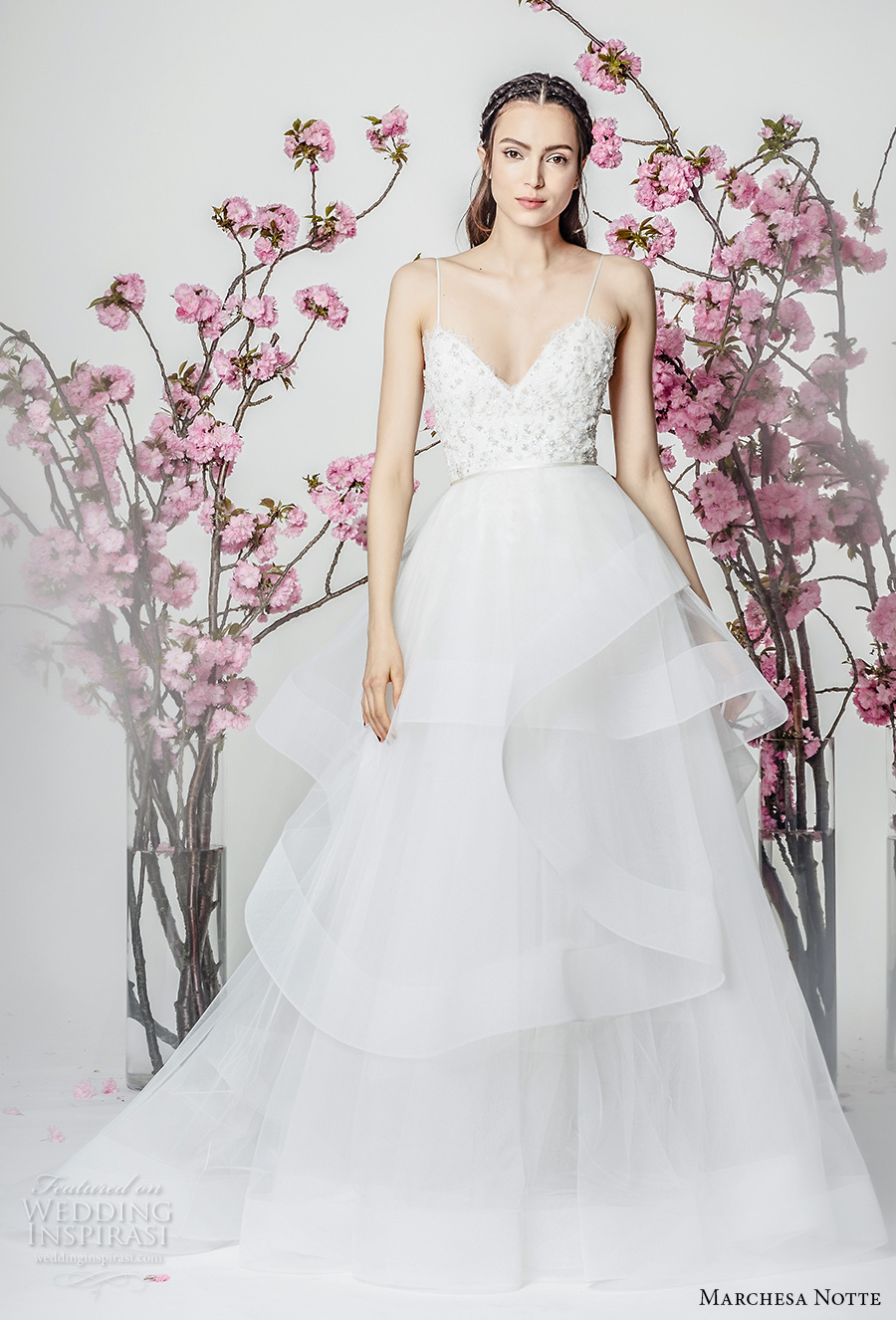 marchesa notte spring 2018 bridal sleeveless spaghetti strap sweetheart neckline heavily embellished bodice layered skirt a line wedding dresschapel train (13) mv