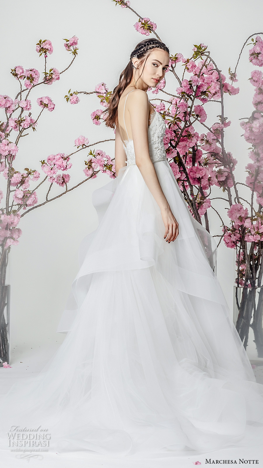 marchesa notte spring 2018 bridal sleeveless spaghetti strap sweetheart neckline heavily embellished bodice layered skirt a  line wedding dresschapel train (13) sdv