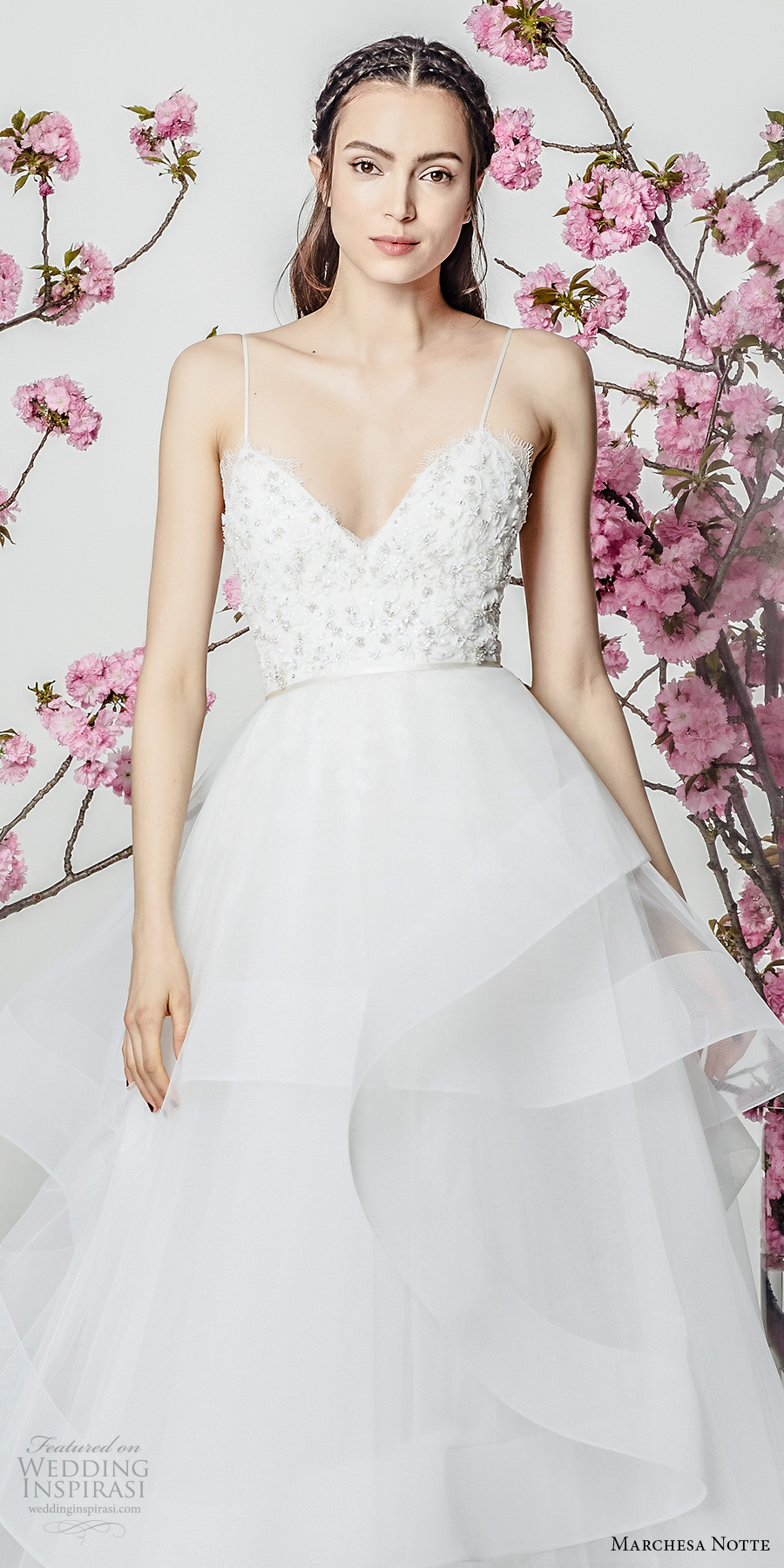 marchesa notte spring 2018 bridal sleeveless spaghetti strap sweetheart neckline heavily embellished bodice layered skirt a line wedding dresschapel train (13) zv