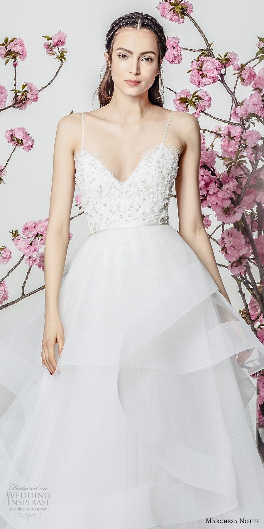 marchesa notte spring 2018 bridal sleeveless spaghetti strap sweetheart neckline heavily embellished bodice layered skirt a  line wedding dresschapel train (13) zv