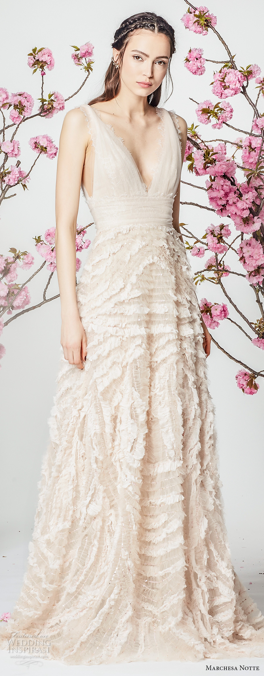 marchesa notte spring 2018 bridal sleeveless strap deep v neck ruched bodice heavily embellished skirt romantic blush color a  line wedding dress sweep train (6) mv