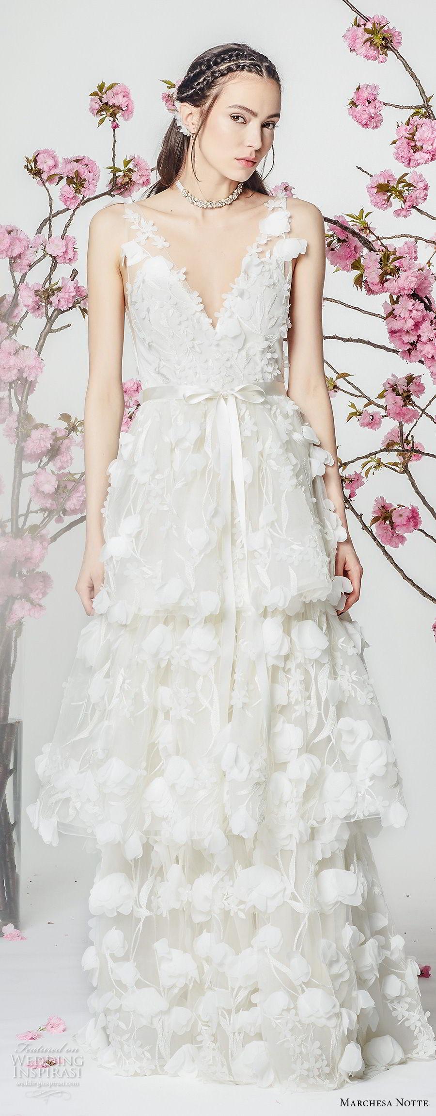 marchesa notte spring 2018 bridal sleeveless v neck full embellishment layered skirt romantic modified a  line wedding dress sweep train (7) mv