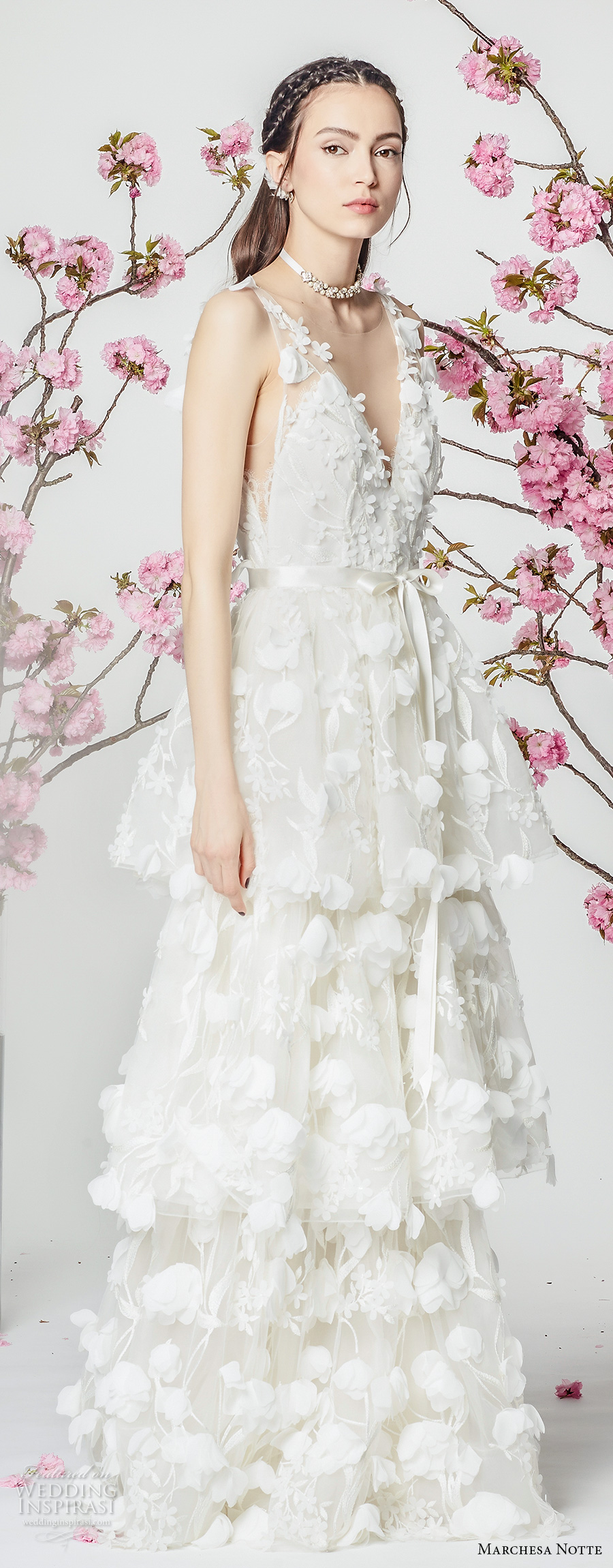 marchesa notte spring 2018 bridal sleeveless v neck full embellishment layered skirt romantic modified a  line wedding dress sweep train (7) sdv