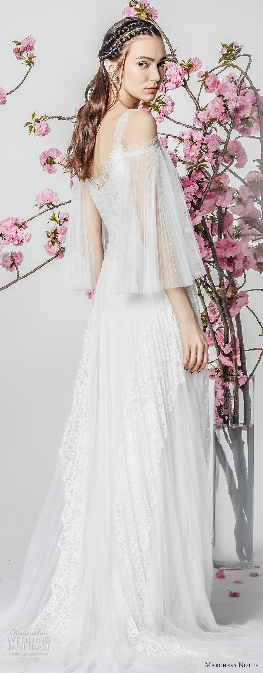 marchesa notte spring 2018 bridal three quarter bell sleeves cold shoulder v neck heavily embellished bodice grecian romantic modified a  line wedding dress sweep train (11) bv