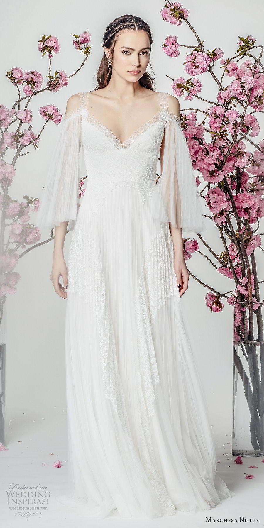 marchesa notte spring 2018 bridal three quarter bell sleeves cold shoulder v neck heavily embellished bodice grecian romantic modified a  line wedding dress sweep train (11) mv