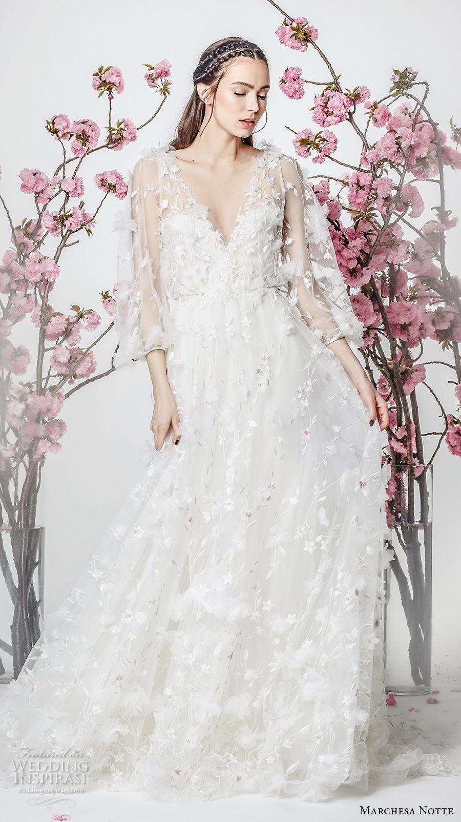 marchesa notte spring 2018 bridal three quarter sleeves v neck full embellishment romantic pretty a  line wedding dress (8) mv