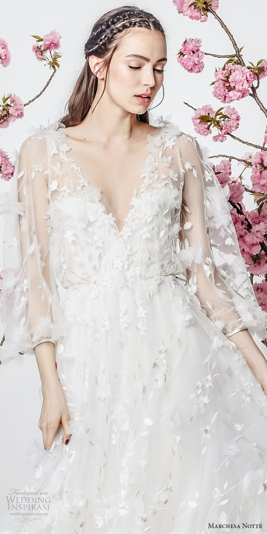 marchesa notte spring 2018 bridal three quarter sleeves v neck full embellishment romantic pretty a line wedding dress (8) zv
