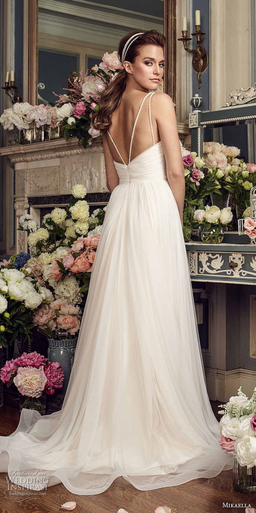 mikaella fall 2017 bridal double thin strap deep sweetheart neckline ruched bodice simple tulle skirt flowy a  line wedding dress open strap back sweep train (2155) bv