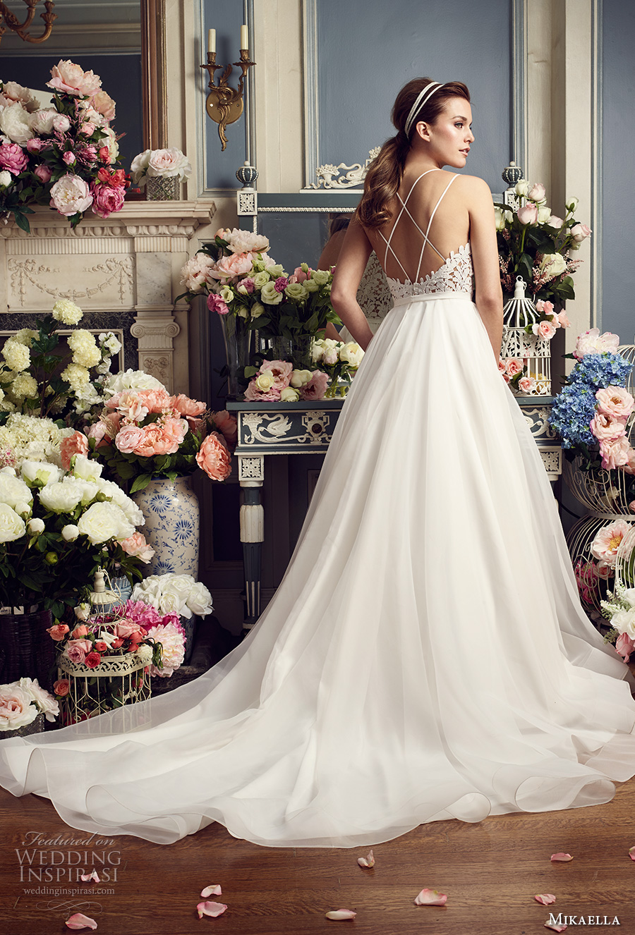mikaella fall 2017 bridal double thin strap sweetheart neckline heavily embellished bodice romantic a  line wedding dress strap back chapel train (2158) bv