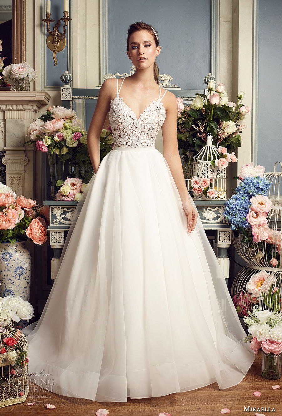 mikaella fall 2017 bridal double thin strap sweetheart neckline heavily embellished bodice romantic a  line wedding dress strap back chapel train (2158) mv
