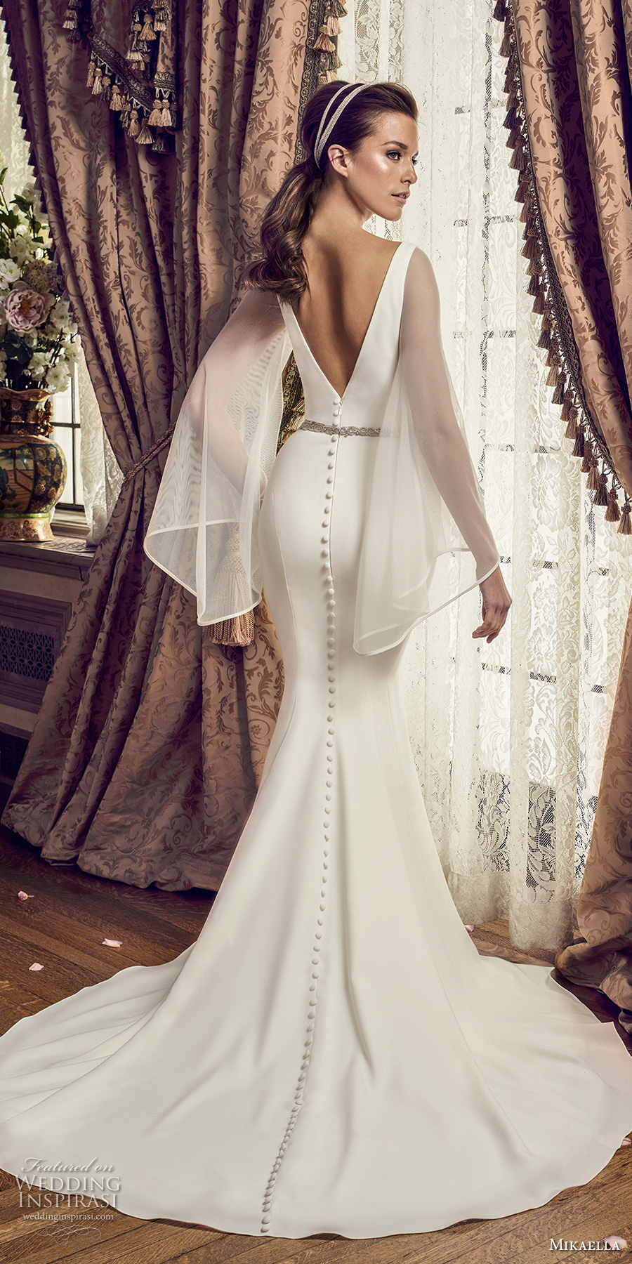mikaella fall 2017 bridal long angel sleeves deep plunging v neck simple clean chic elegant fit and flare wedding dress open v back chapel train (2169) bv