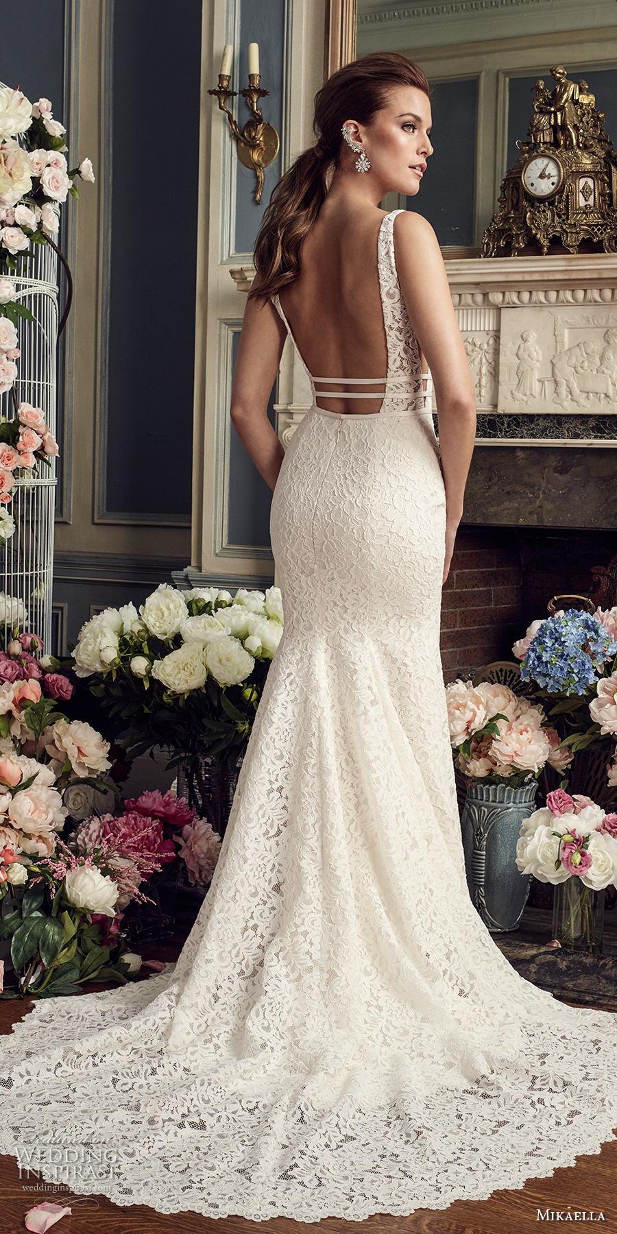 mikaella fall 2017 bridal sleeveless deep plunging sweetheart neckline full embellishment elegant fit and flare wedding dress open square back medium train (2154) bv