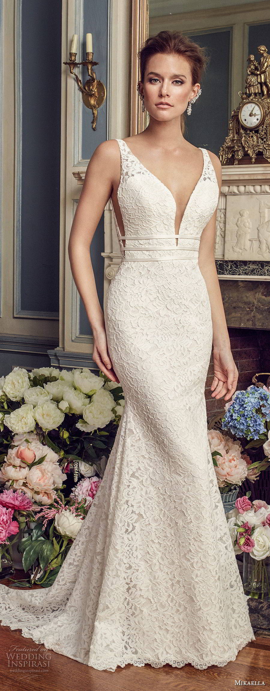 mikaella fall 2017 bridal sleeveless deep plunging sweetheart neckline full embellishment elegant fit and flare wedding dress open square back medium train (2154) mv