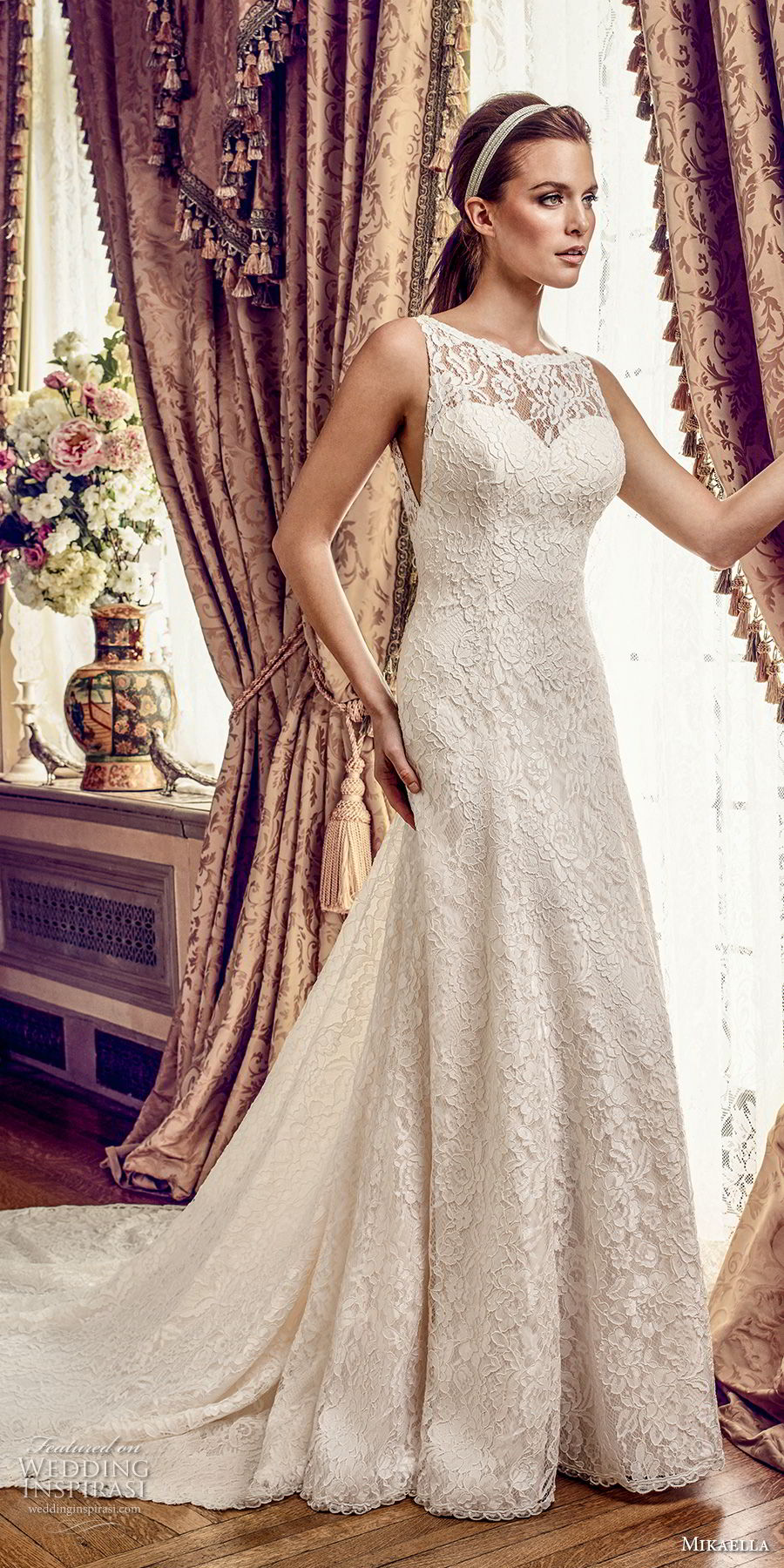 mikaella fall 2017 bridal sleeveless illusion bateau sweetheart neckline full embellishment drop waist elegant a  line wedding dress open square back chapel train (2161) mv